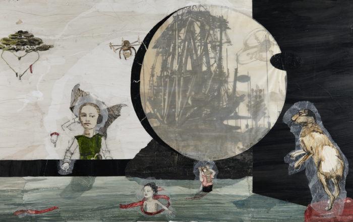 Kerstin Grimm, Paradies-Spiel, 2014, Zeichnungscollage auf Papier, 138 x 220 cm
