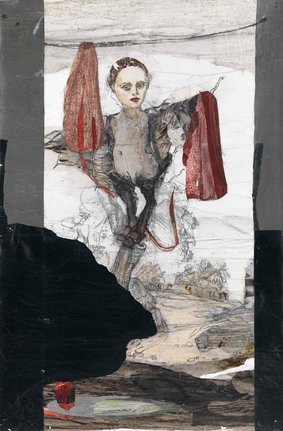 Kerstin Grimm, Landschaft (Lost and found 2), 2015, Zeichnungscollage auf Papier, 99,5 x 65,5 cm