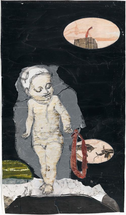 Kerstin Grimm, Landschaft (Lost and found 3), 2015, Zeichnungscollage auf Papier, 100 x 57,5 cm