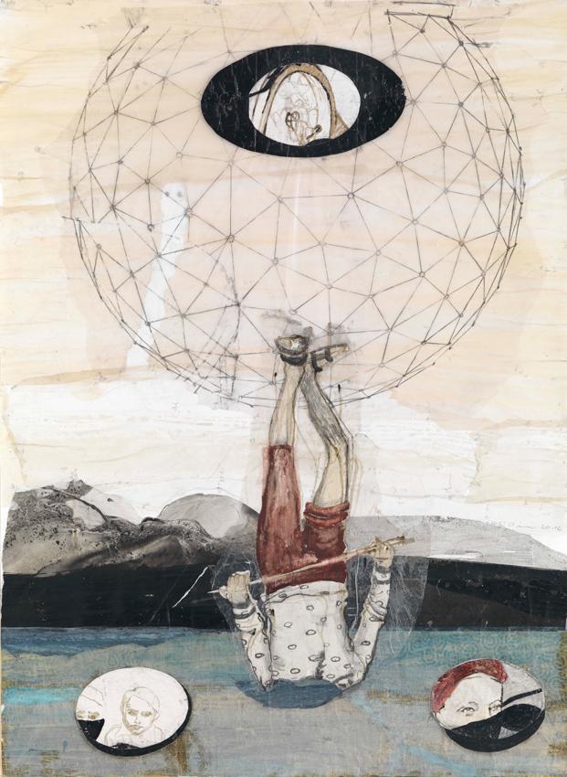 Kerstin Grimm, Landschaft (Lost and found 6), 2016, Zeichnungscollage auf Papier, 100 x 72,5 cm