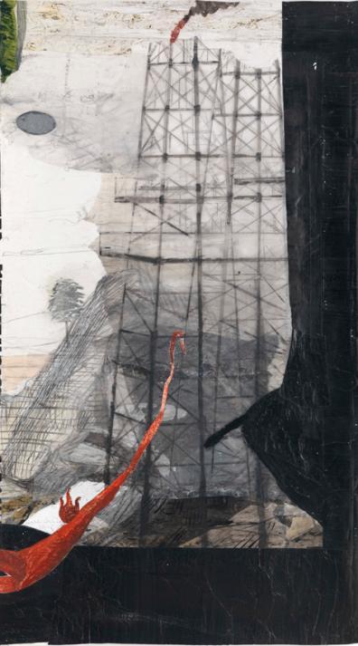 Kerstin Grimm, Landschaft (Lost and found 5), 2016, Zeichnungscollage auf Papier, 100 x 57 cm