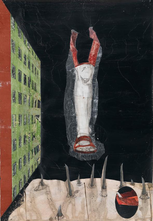 Kerstin Grimm, Landschaft (Lost and found 4), 2016, Zeichnungscollage auf Papier, 98,5 x 68 cm