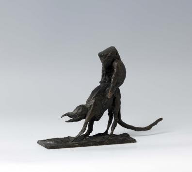 Kerstin Grimm, Rattenritt, 2007, Bronze, 16,5 x 7 x 24 cm