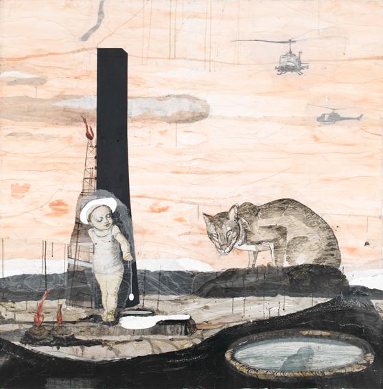 Kerstin Grimm, Stunde der Dämonen, 2015, Zeichnungscollage auf Papier, 190 x 190 cm