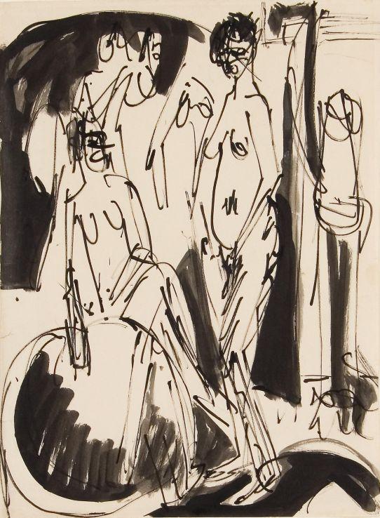 Ernst Ludwig Kirchner, Drei Frauenakte, 1914, Tusche und Bleistift auf Papier. 49,5 x 36,5 cm