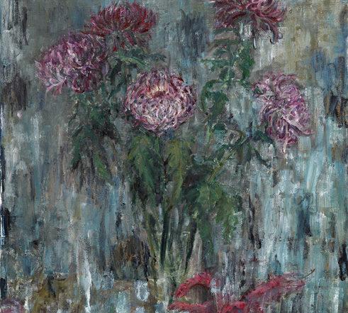 Sabine Moritz, Chrysanthemen und Drache, 2015