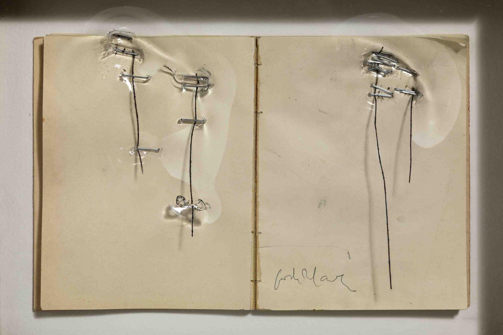 Jordi Alcaraz, Sense titol / Untitled, 2011, aufgeschlagenes Buch, Drahtklammern, Kaltnadel und Methacrylat, 33 x 38 x 7 cm