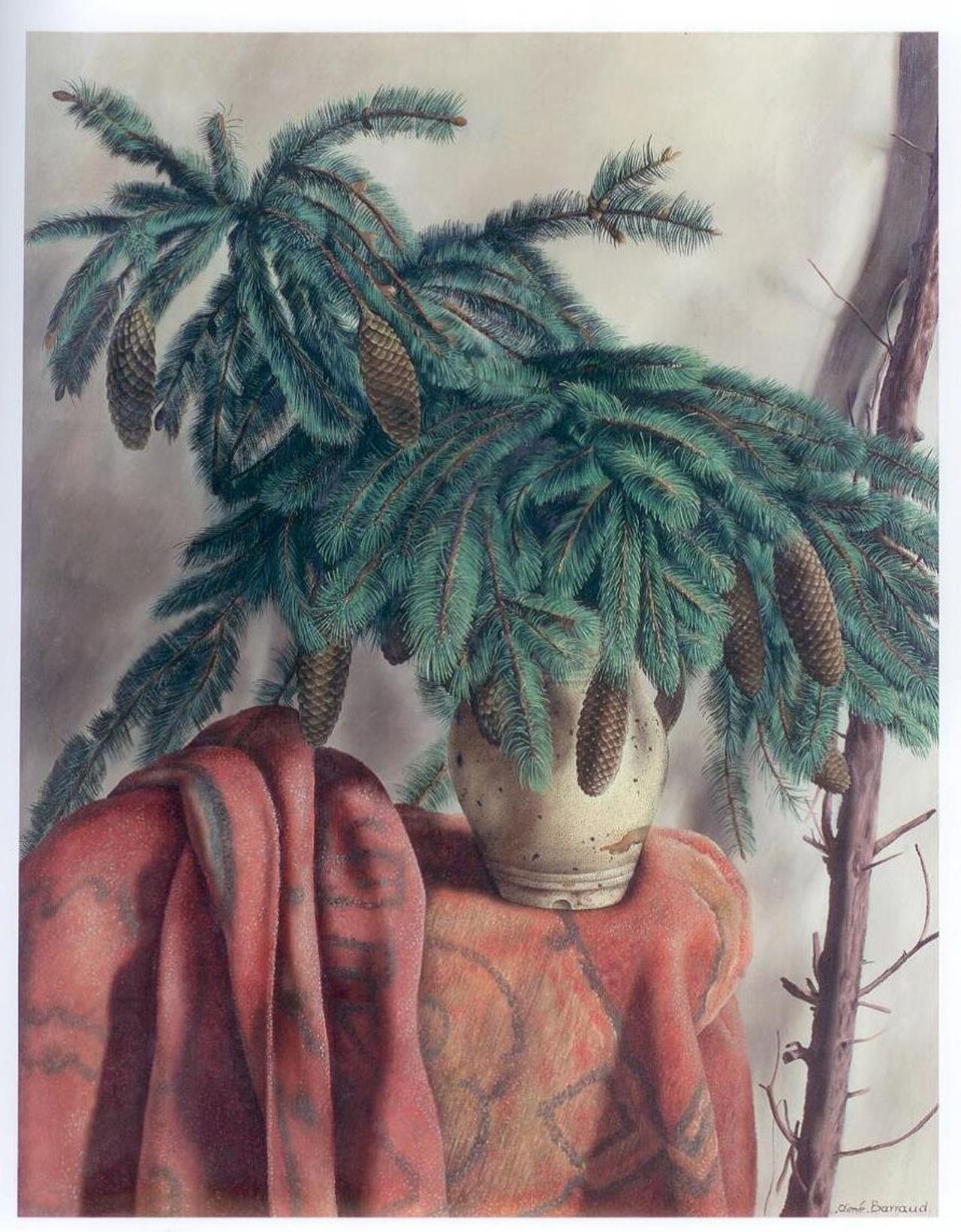 Aimé Victor Barraud, Branche de sapin, o.J., Öl auf Leinwand, 92 x 73 cm