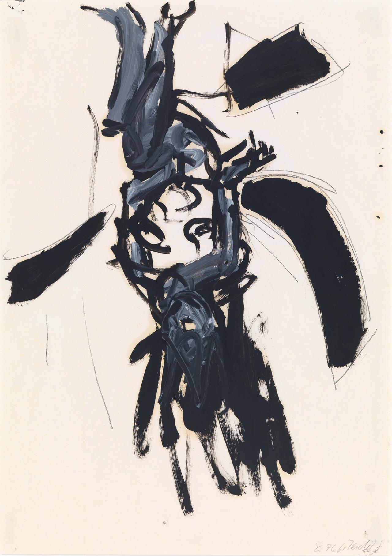 Georg Baselitz, Ohne Titel (Sitzender weiblicher Akt), 1976, Öl und Bleistift auf Papier, 70 x 50 cm
