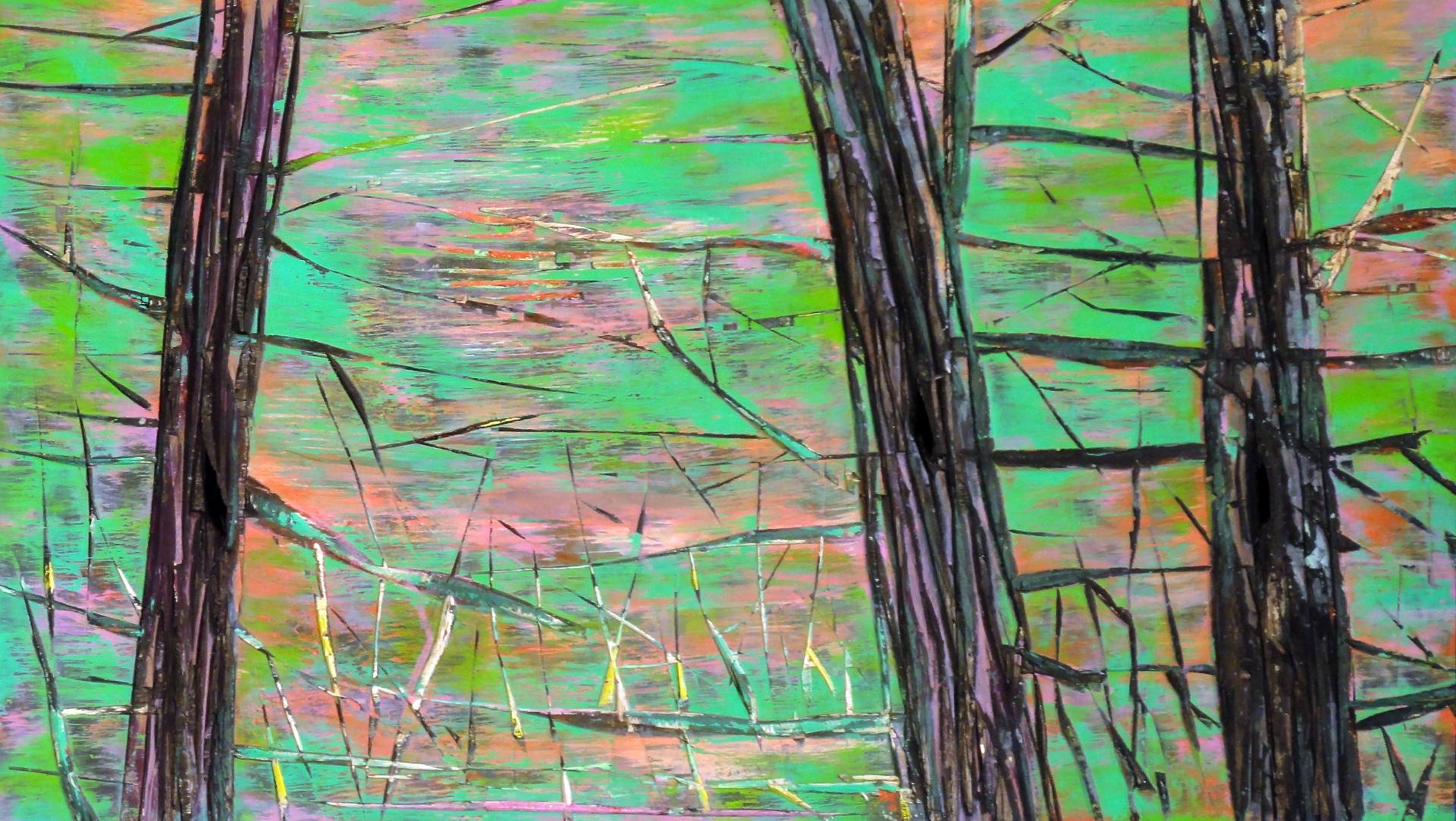 Nicole Bianchet, Treesome, 2011, Mischtechnik auf Holz, 44 x 77 cm