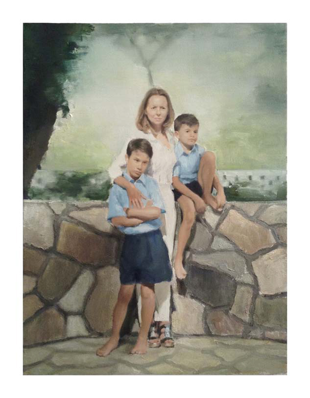 Jonathan Wateridge, Enclave Study No. 1 (Me, Mum & I), 2015, Öl auf Leinwand, 60 x 45 cm