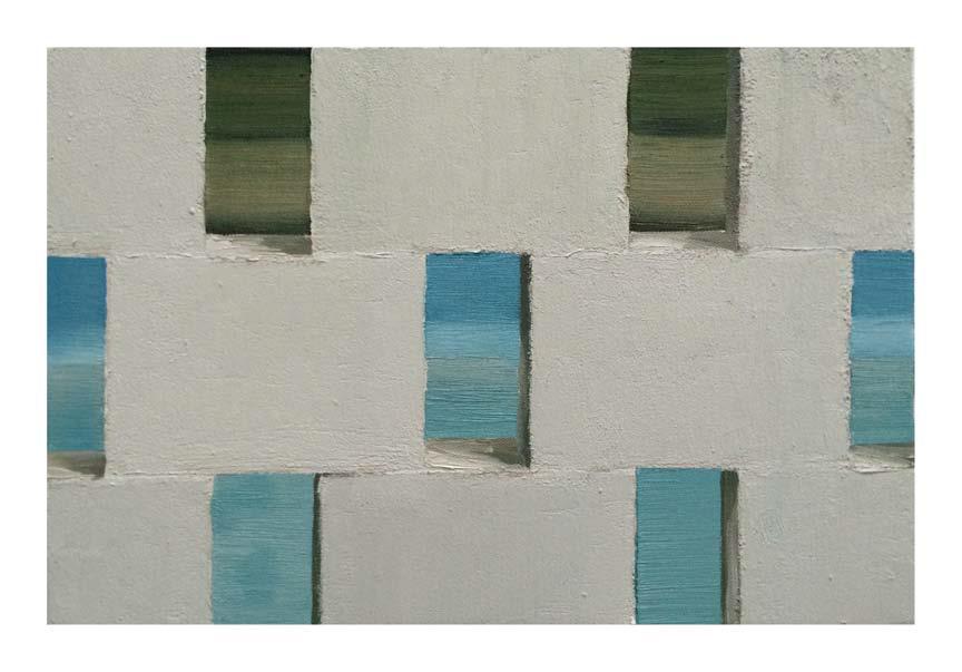 Jonathan Wateridge, Enclave Study No. 15 (Wall), 2015, Öl auf Leinwand, 30 x 45 cm