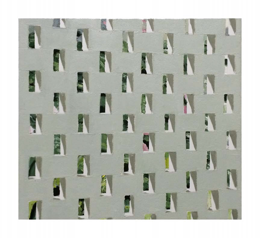Jonathan Wateridge, Enclave Study No. 18 (Wall), 2015, Öl auf Leinwand, 50 x 55 cm