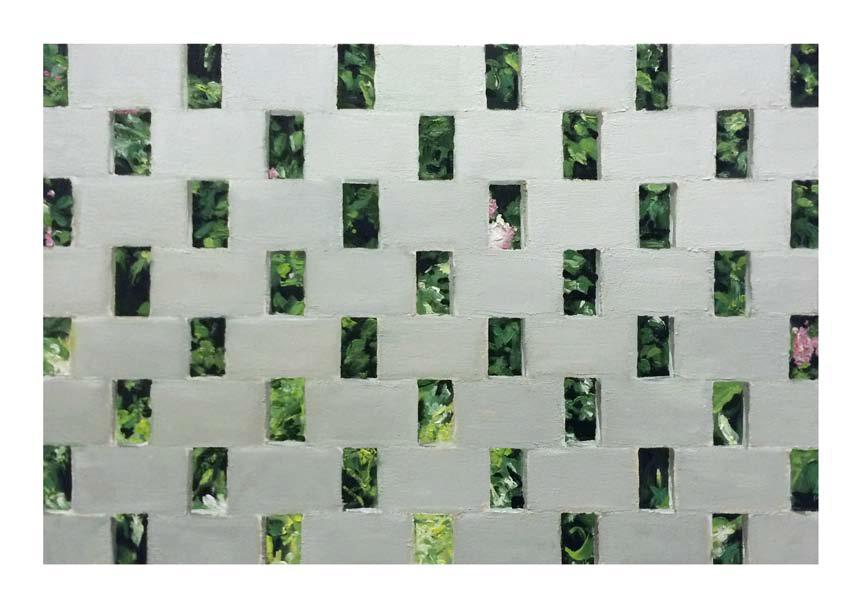 Jonathan Wateridge, Enclave Study No. 22 (Wall), 2015, Öl auf Leinwand, 50 x 75 cm