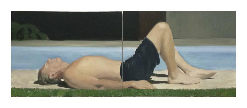 Jonathan Wateridge, Enclave Study No. 24 (Swim), 2015, Öl auf Leinwand, zweiteilig, 45 x 120 cm
