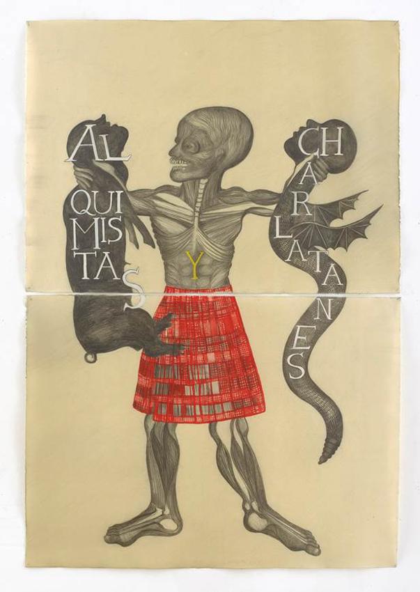 Sandra Vásquez de la Horra, Alquimistas y Charlatanes, 2016, Bleistift und Pigment auf Aquarellkarton in Wachs, zweiteilig, 107 x 78 cm