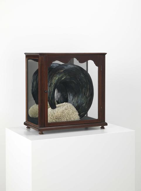 Kate MccGwire, Spurn, 2013, Hahnenfedern, Federkiele und Mischtechnik in Vitrine, 42 x 41 x 23,5 cm