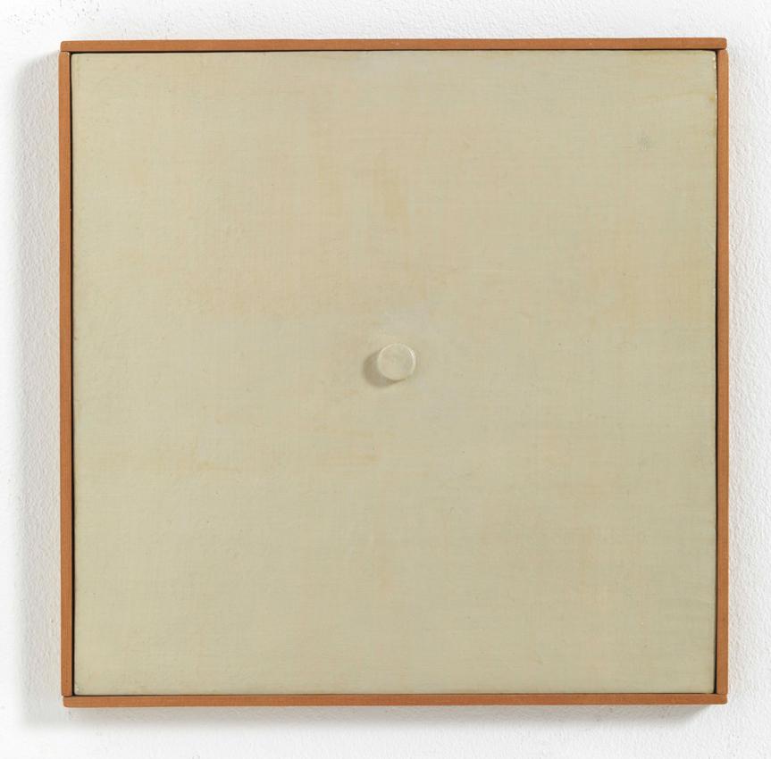 Heinz Butz, Ohne Titel (Quadratbild, Punkt zentrisch), 1968, Kunstharz auf Spanplatte, 31 x 31 cm