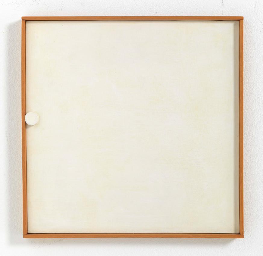 Heinz Butz, Ohne Titel (Quadratbild, Punkt links am Rand), 1968, Kunstharz auf Spanplatte, 32,5 x 32,4 cm
