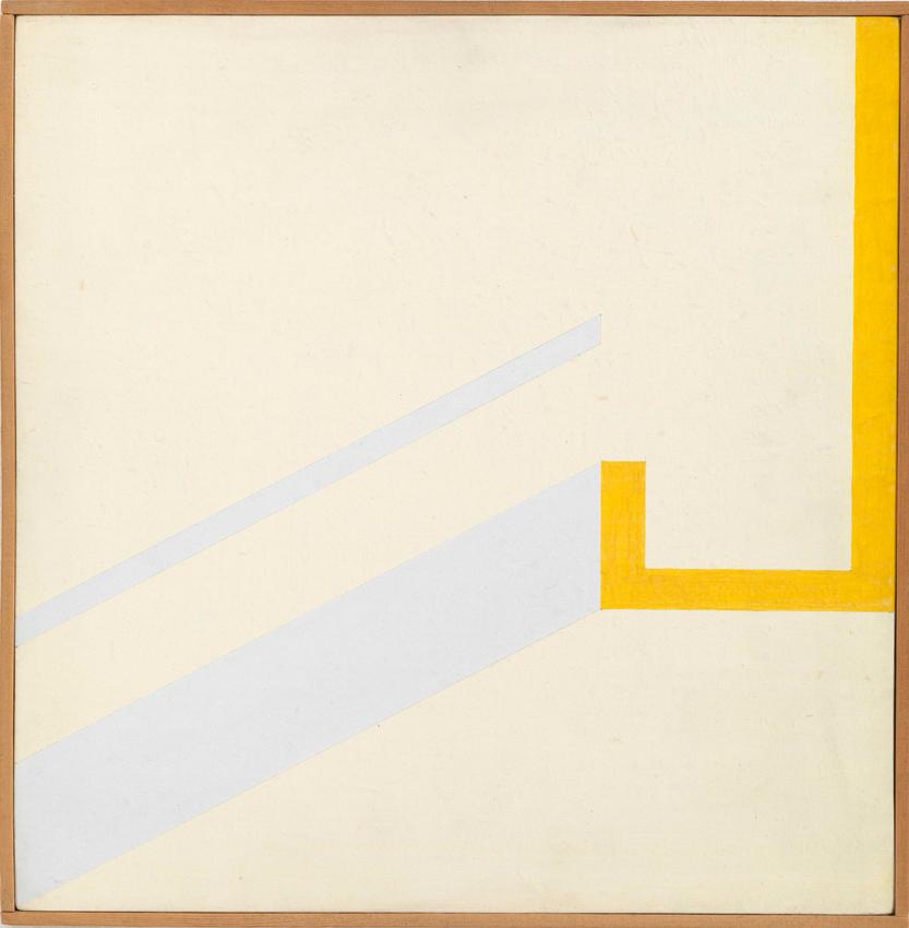 Heinz Butz, Illusionsräumliche Konzeption, 1970, Kunstharz auf Spanplatte, 30,5 x 30 cm