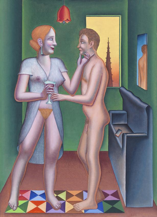 Konrad Klapheck, Das Glas Rotwein, 2005, Acryl auf Leinwand, 125 x 90 cm