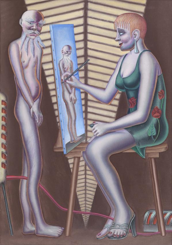 Konrad Klapheck, Das Atelier II, 2002, Acryl auf Leinwand, 120 x 85 cm