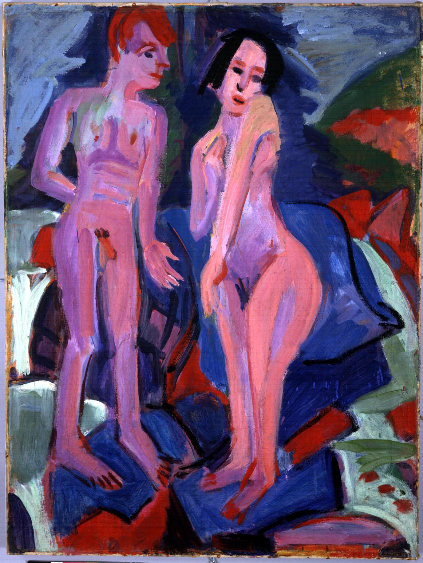 Ernst Ludwig Kirchner, Nacktes Paar am Wasserfall, 1923, Öl auf Leinwand, 102,5 x 76,3 cm