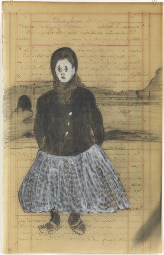 Sandra Vásquez de la Horra, Fantasma, 2017, Bleistift und Pigment auf Aquarellkarton in Wachs, 39 x 26 cm