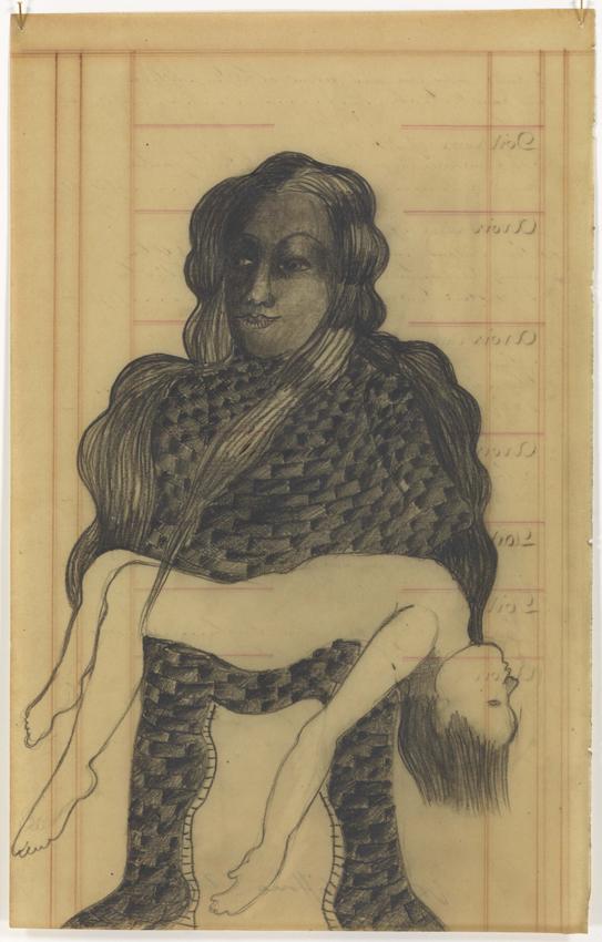 Sandra Vásquez de la Horra, La Pietá Empedrada, 2017, Bleistift auf Aquarellkarton in Wachs, 39 x 26 cm