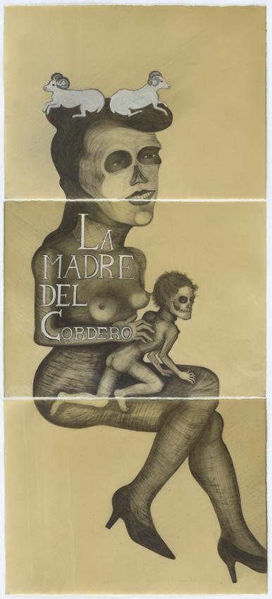 Sandra Vásquez de la Horra, La madre del Cordero, 2016, Bleistift und Pigment auf Aquarellkarton in Wachs, 171 x 76 cm