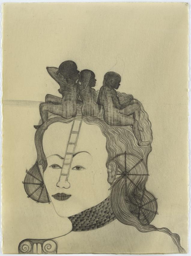 Sandra Vásquez de la Horra, Las tres Hermanas, 2016, Bleistift auf Aquarellkarton in Wachs, 76 x 56 cm