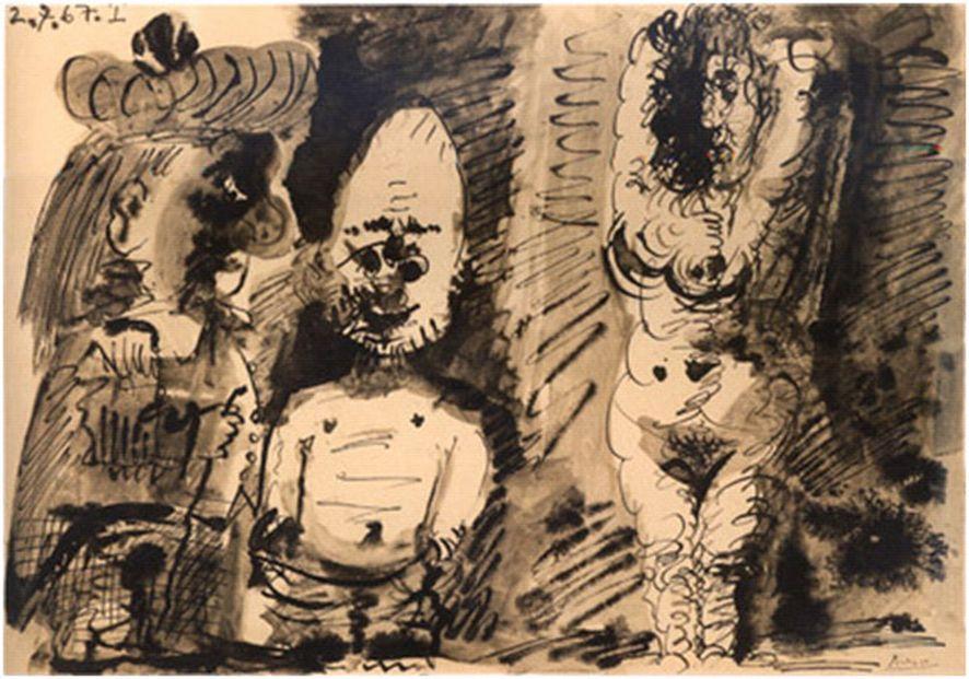 Pablo Picasso, Femme nue et deux personnages, 1967, Tusche, laviert auf Papier, 37 x 52,4 cm