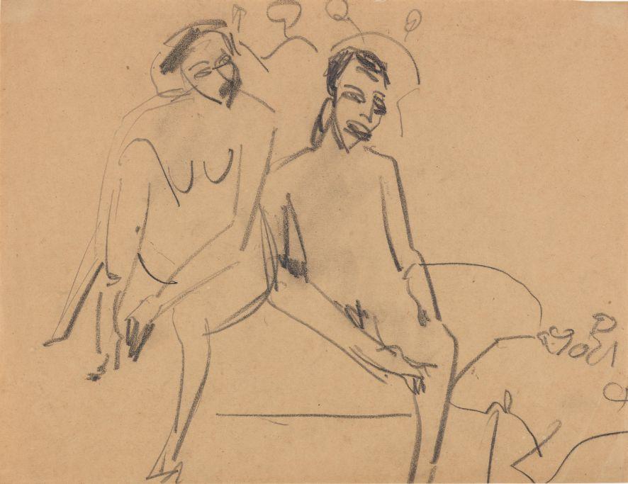 Ernst Ludwig Kirchner, Nacktes Paar im Atelier, 1910, schwarze Kreide auf Papier, 33 x 42,7 cm