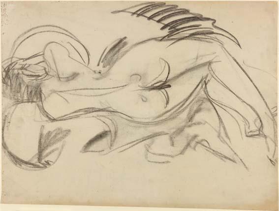 Ernst Ludwig Kirchner, Liegender Akt (nach links), verso: Liegender Akt (nach rechts), 1914, Kreide auf Papier, 50,3 x 67,2 cm