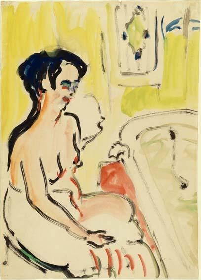 Ernst Ludwig Kirchner, Weiblicher Akt neben Badewanne, Aquarell, Tusche und Gouache auf Papier, 60 x 43 cm