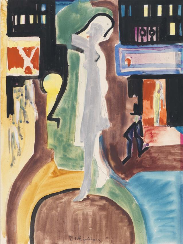 Ernst Ludwig Kirchner, Promenade, 1928, Aquarell und Gouache über Bleistift auf Papier, 44,5 x 33,3 cm