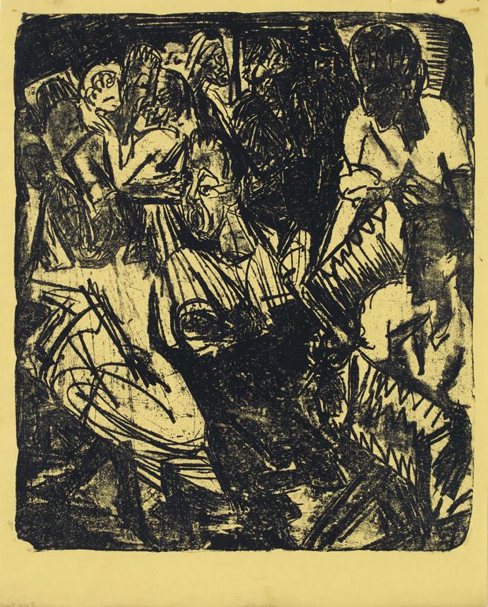 Ernst Ludwig Kirchner, Alptanz mit zwei Handorglern, 1920, Lithographie auf Papier, 59,2 x 50,5 cm / 67,1 x 54 cm