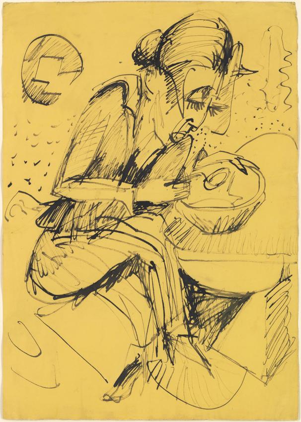 Ernst Ludwig Kirchner, Suppe essende Frau, 1919, Tusche in Feder auf gelbem geripptem Bütten, 60,5 x 43 cm