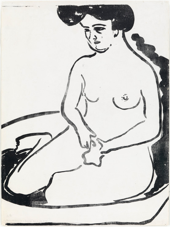 Ernst Ludwig Kirchner, Großer Mädchenakt in Badetub, 1909, Lithographie auf Vélin, 59,8 x 44,8 cm