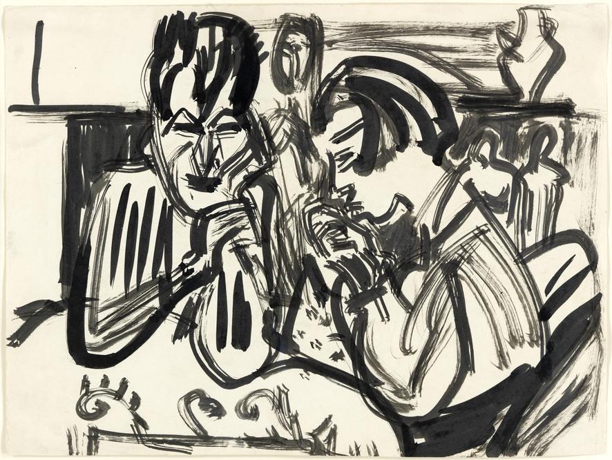 Ernst Ludwig Kirchner, Paar am Tisch, verso: Akt im Tub (1911), Tusche auf Papier, 31,8 x 42 cm