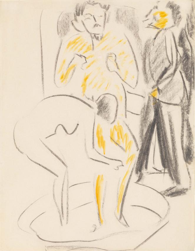 Ernst Ludwig Kirchner, Im Zuber (Weiblicher Akt mit zwei Herren), Kohle und Aquarell auf Velin, 45 x 35 cm