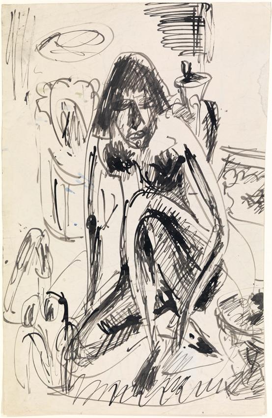 Ernst Ludwig Kirchner, Sitzende Frau im Tub, verso: Schale mit Früchten, um 1910/1913, Tuschfeder auf Velin, 52 x 34 cm