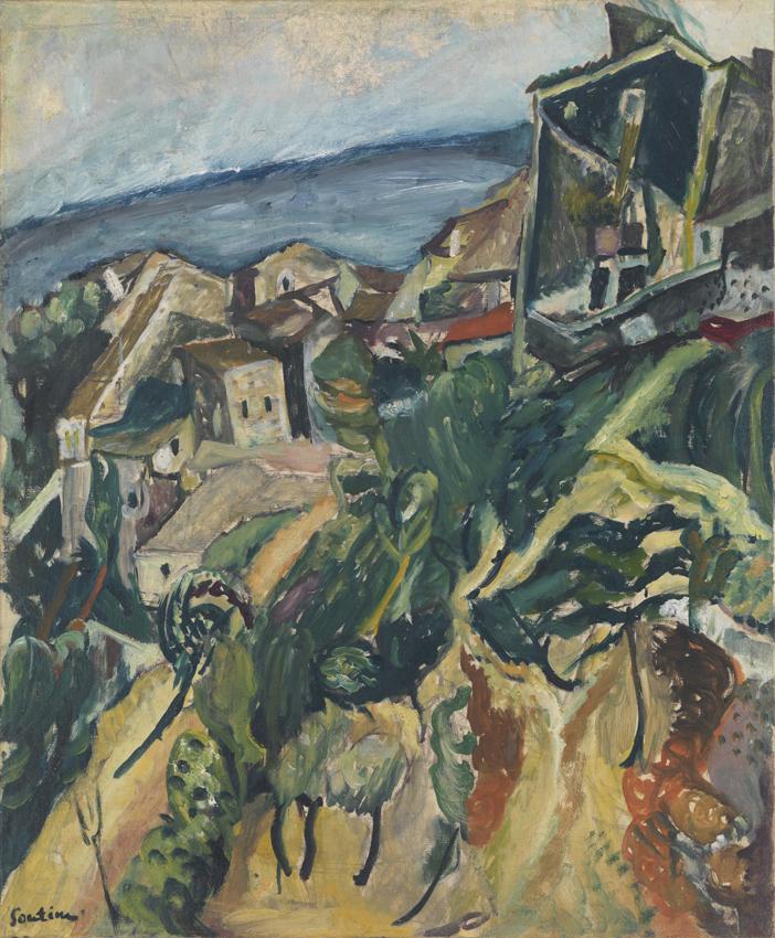 Chaïm Soutine, Maisons au bord de mer, Öl auf Leinwand, 67,5 x 56 cm