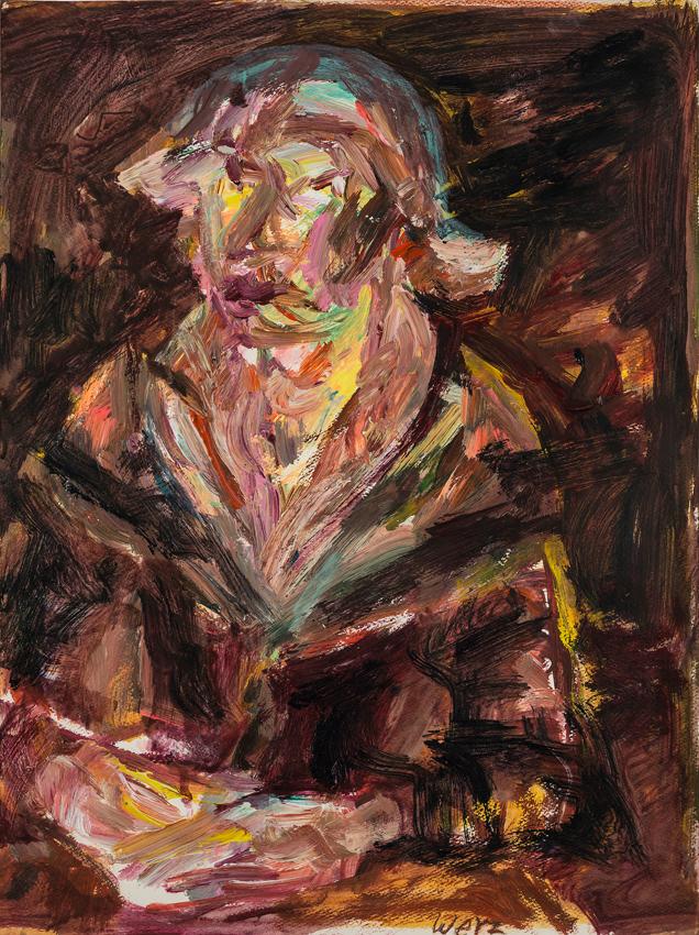 Katharina von Werz, Lesende l, 2015, Acryl auf Karton, 56 x 41,5 cm
