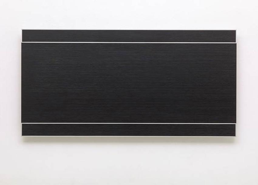 "Frank Gerritz, Temporary Ground, ""Perfect Example"", 2014, Ölwachsstift auf eloxiertem Aluminium, 60 x 120 cm"