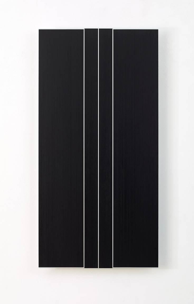 Frank Gerritz, Sonic Reducer II, 2016, Ölwachsstift auf eloxiertem Aluminium, 120 x 60 cm