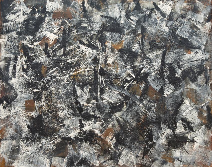 Peter Brüning, Komposition 12/III,57, 1957, Öl auf Leinwand, 73 x 92 cm