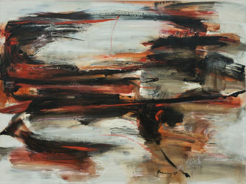Peter Brüning, Komposition 3/II,58, 1958, Öl auf Leinwand, 97 x 130 cm
