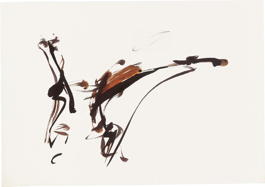 Peter Brüning, Ohne Titel, 1957, Tusche, Bister, Pinsel auf Papier, 61 x 86 cm