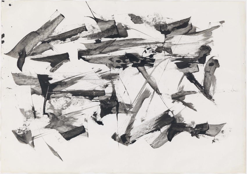 Peter Brüning, Ohne Titel, 1957, Tusche auf Papier, 61 x 86 cm